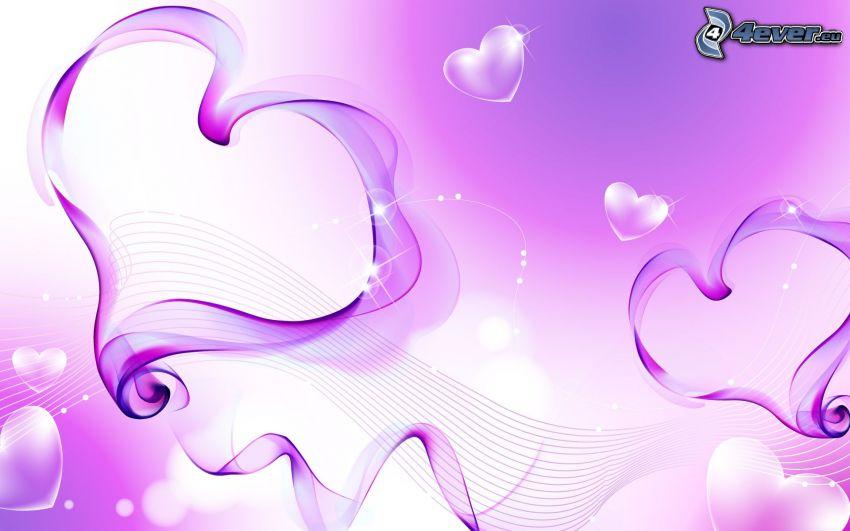 lila hjärtan