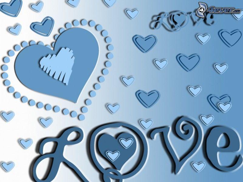 love, blåa hjärtan