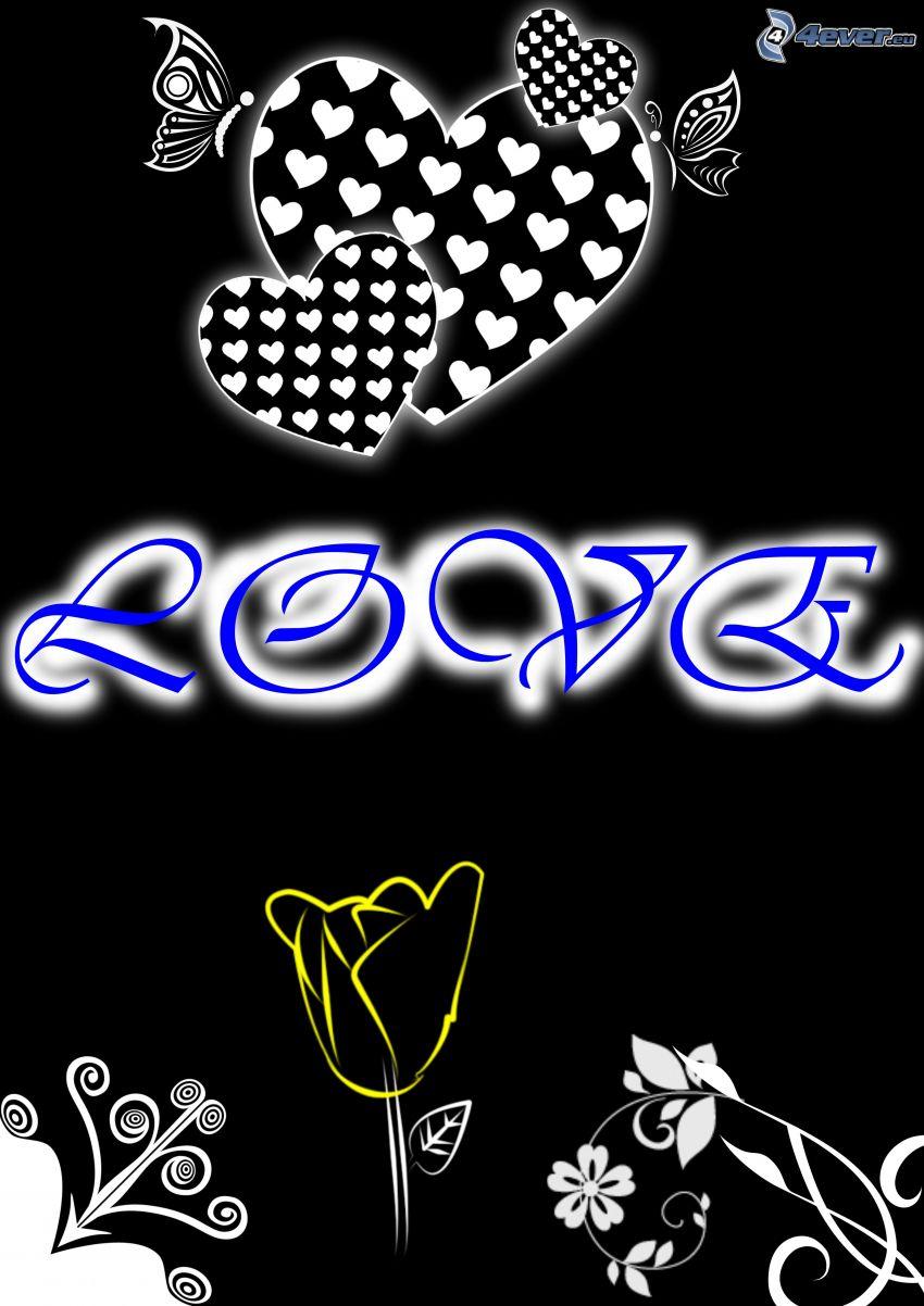 love, hjärtan, blomma, teckning