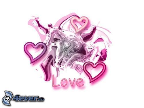 love, lila hjärtan, abstrakt