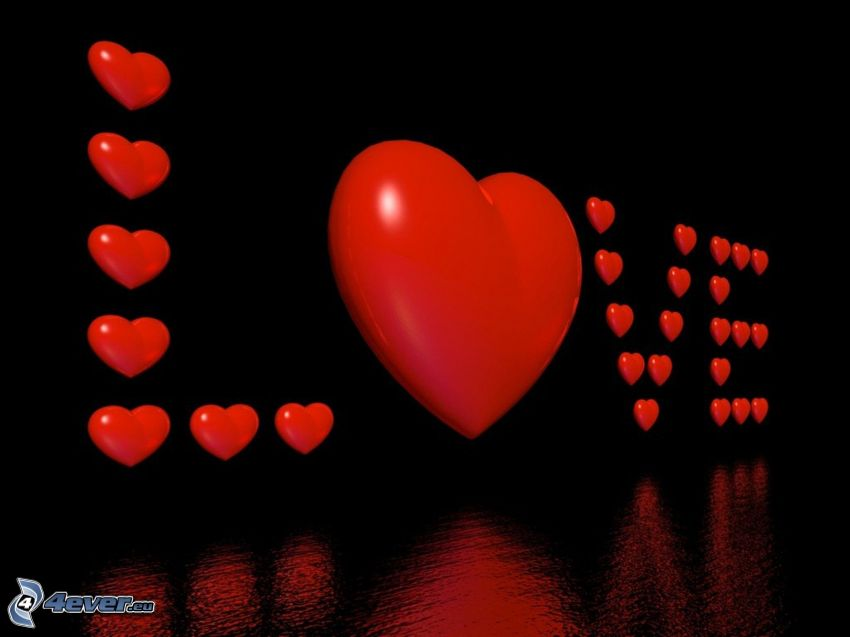 love, röda hjärtan