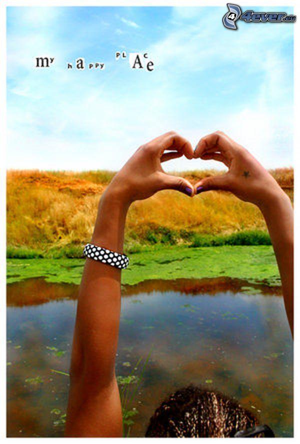 my happy place, hjärta av händer, sjö