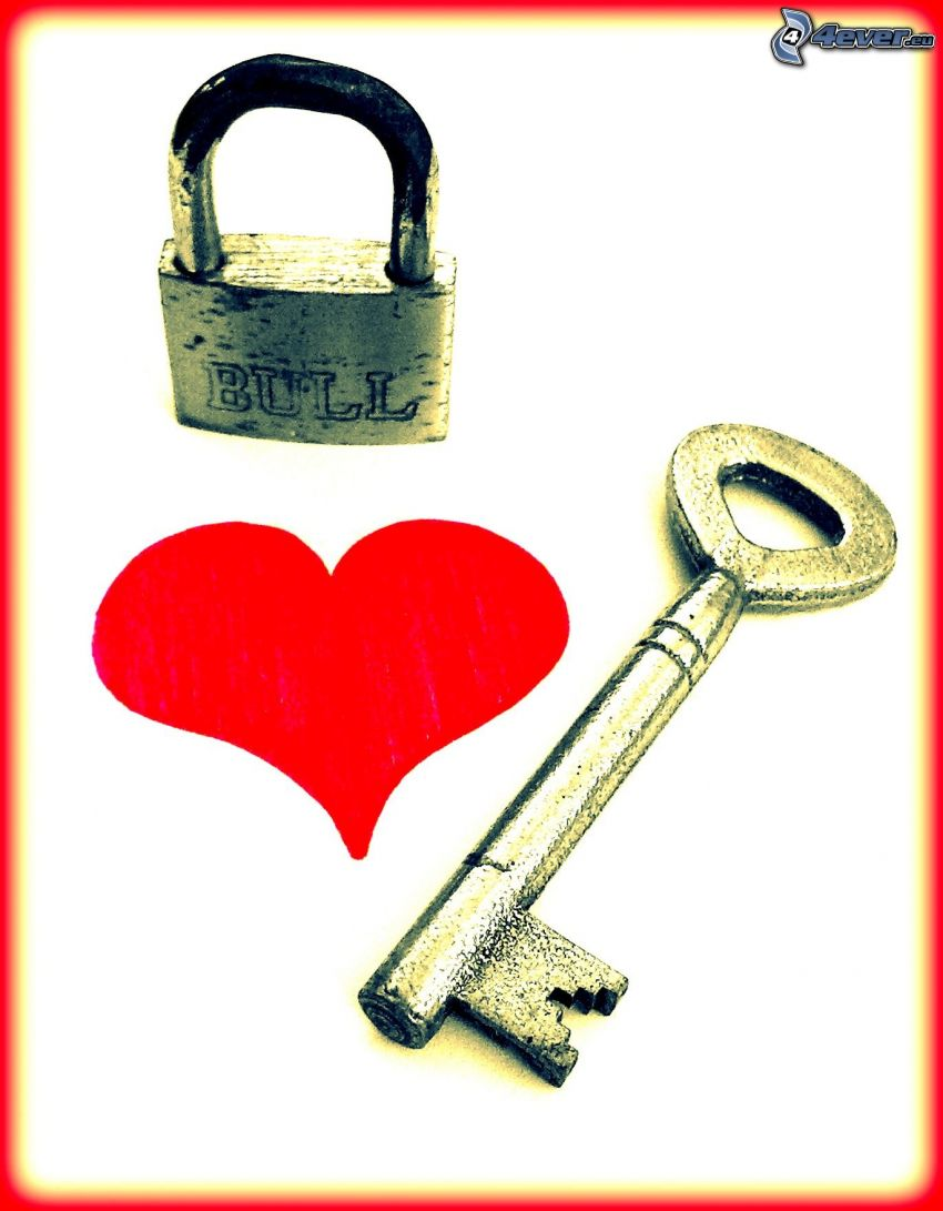 nyckel, hjärta, lås