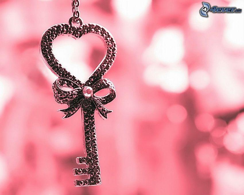 nyckel, hjärta, rosett
