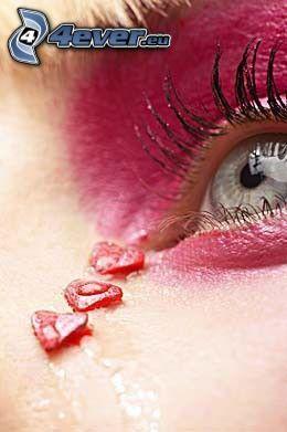 öga, tårar, hjärtan