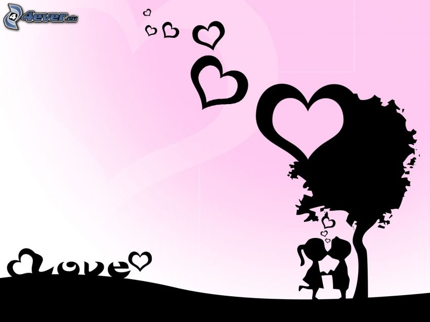 par under träd, tecknat par, silhuett av ett par, hjärtan, love, kärlek