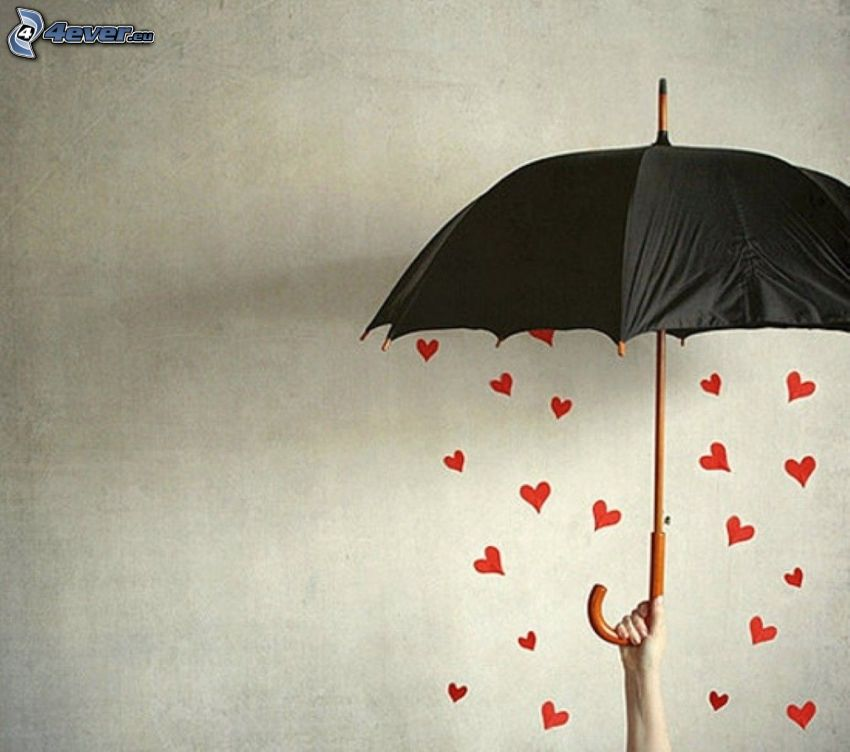 paraply, valentine röda hjärtan, hand