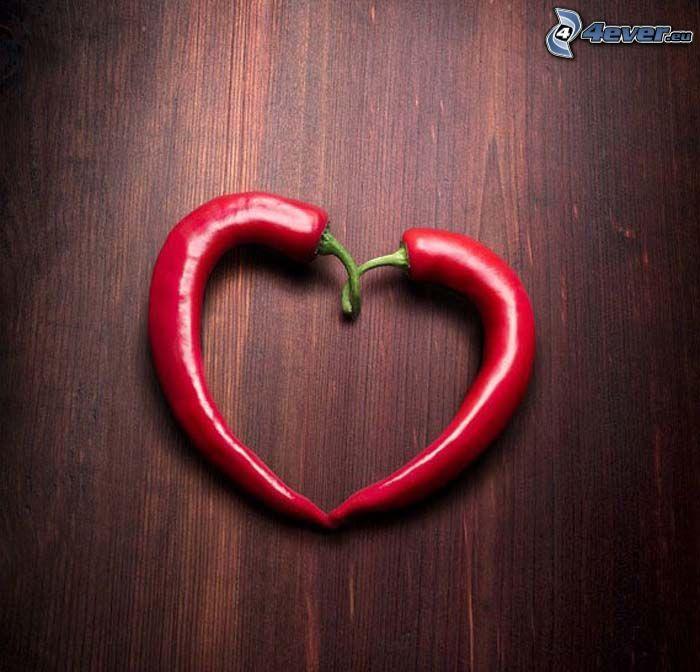 röda chilipaprikor, hjärta