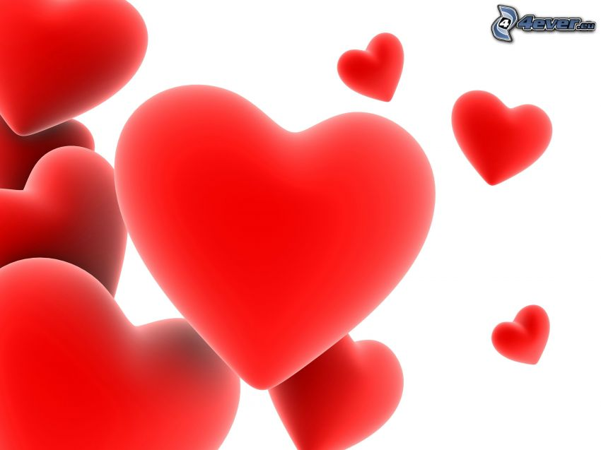 röda hjärtan, digital konst