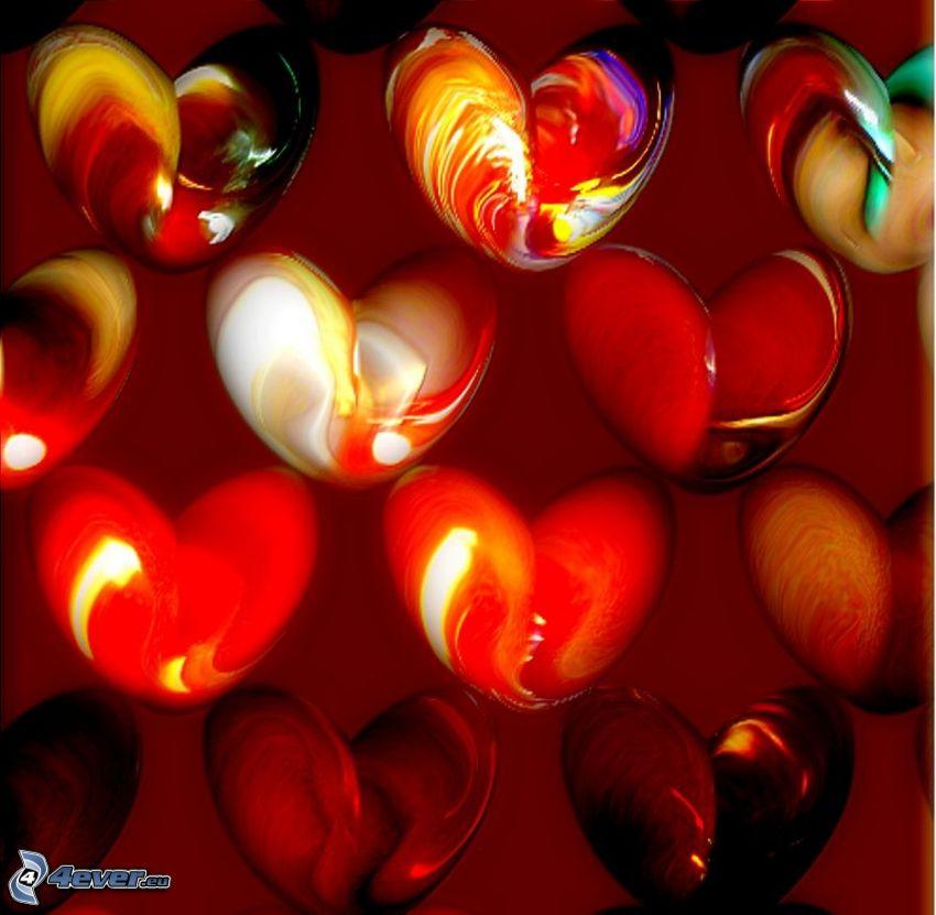 röda hjärtan, röd bakgrund