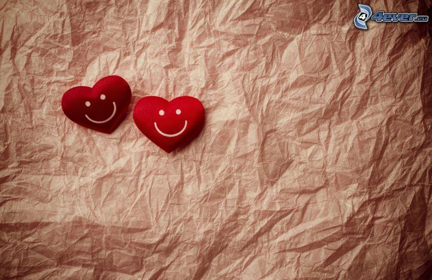 röda hjärtan, smileys, papper
