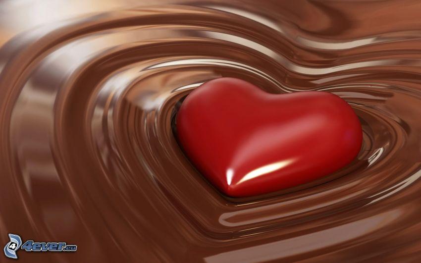 rött hjärta, choklad