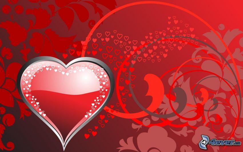rött hjärta, digitala blommor