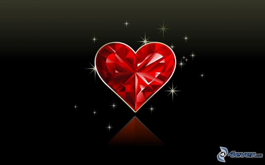 rött hjärta, kristall
