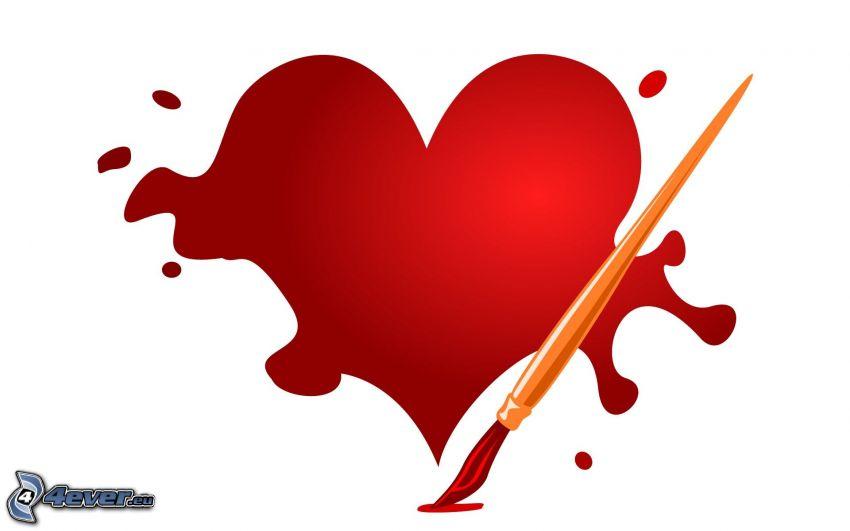 rött hjärta, pensel