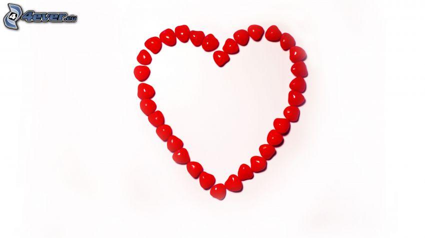 rött hjärta, småsten