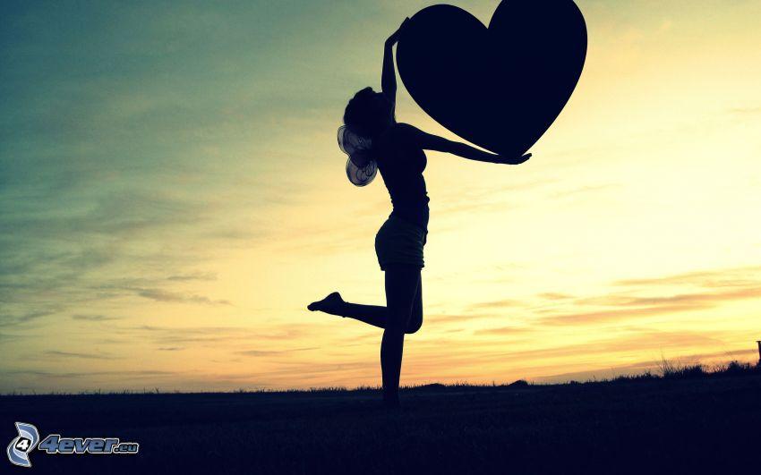 silhuett av kvinna, hjärta, tjej