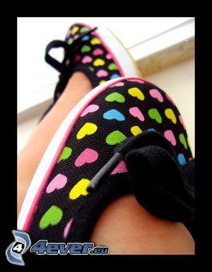 skor, hjärtan