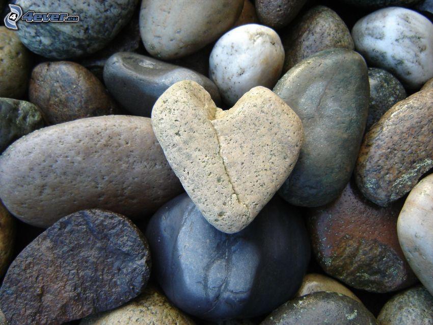 stenhjärta, klippor, stenar