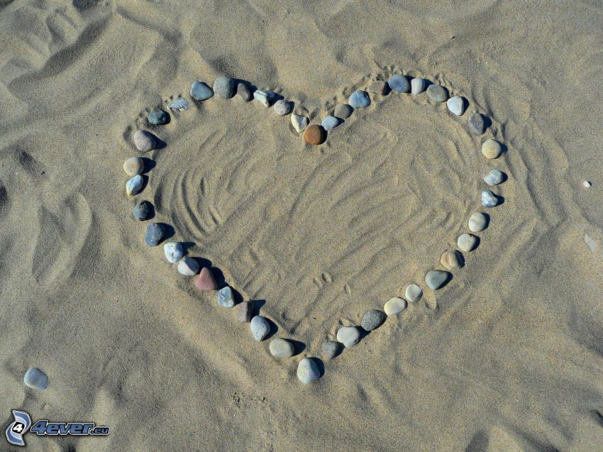 stenhjärta, sand