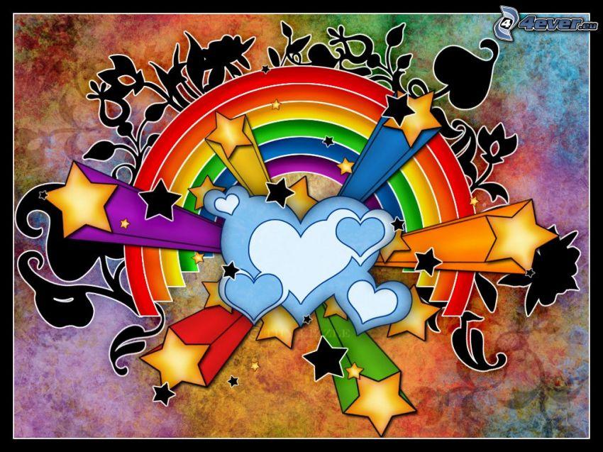 tecknade hjärtan, färggrann regnbåge