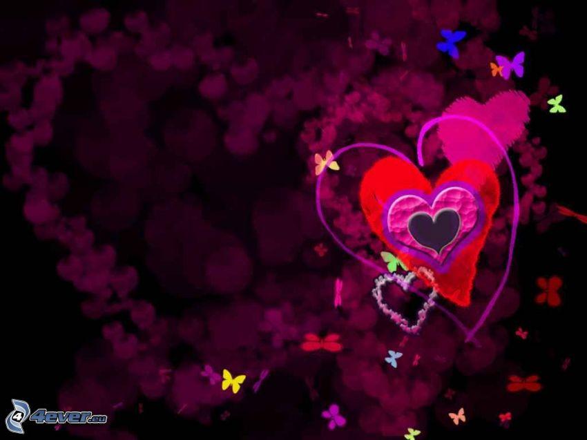 tecknade hjärtan, fjärilar