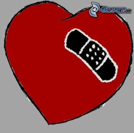 tecknat hjärta, plåster