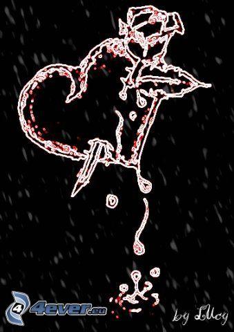 tecknat hjärta, ros, smärta, blod, droppe