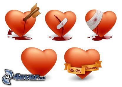 trasigt hjärta, kärlek, hjärta