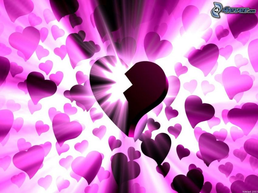trasigt hjärta, kärlek, sken, lila