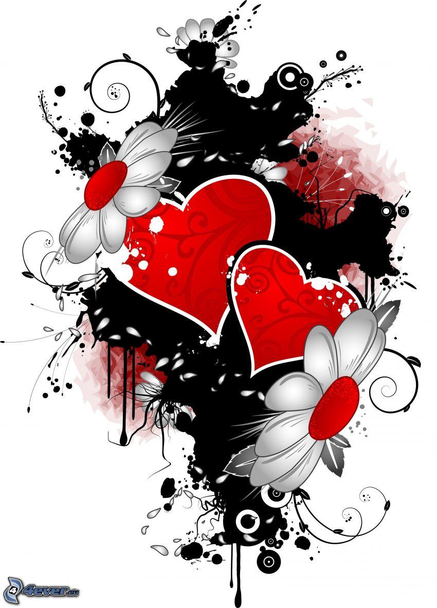 två hjärtan, digital konst