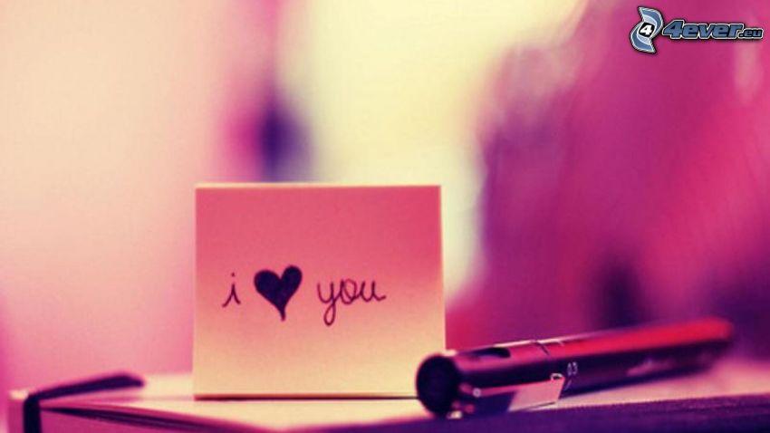 I love you, hjärta, bläckpenna