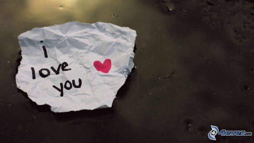I love you, hjärta, papper, meddeande