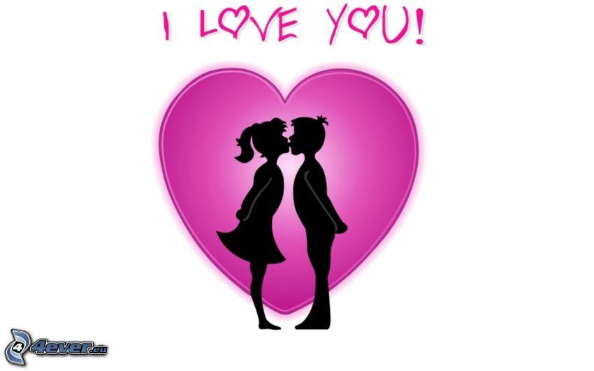 I love you, hjärta, silhuett av ett par, kyss