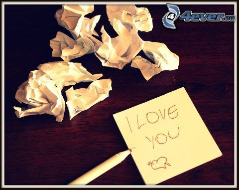 I love you, kärlek, papper, meddeande