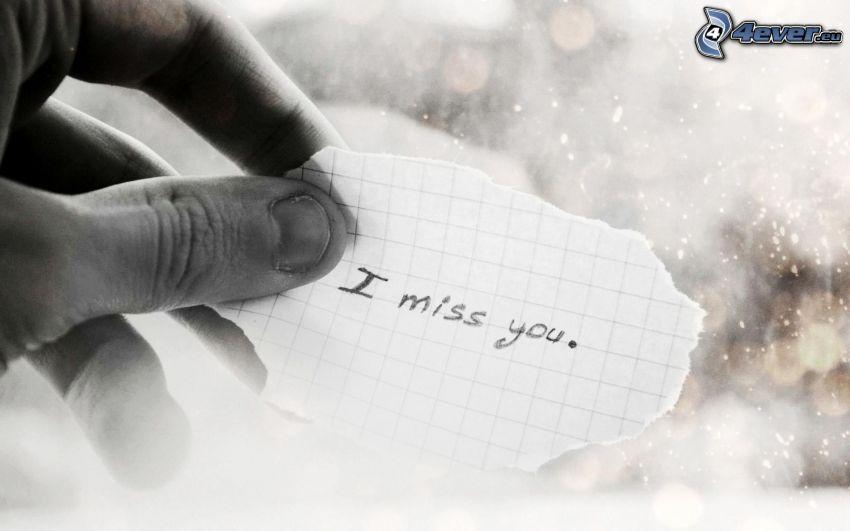 jag saknar dig, hand, papperslapp
