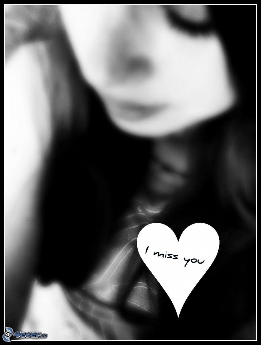 jag saknar dig, ledsen flicka, hjärta