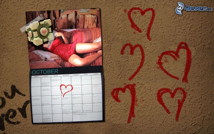 kalender, hjärtan