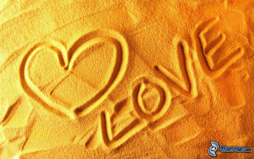 kärlek, hjärta i sand
