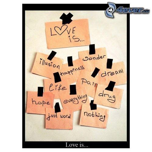 kärlek är ..., etiketter, anslagstavla
