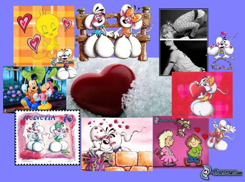 kärt collage, hjärta, Diddl, Tweety, Mickey Mouse