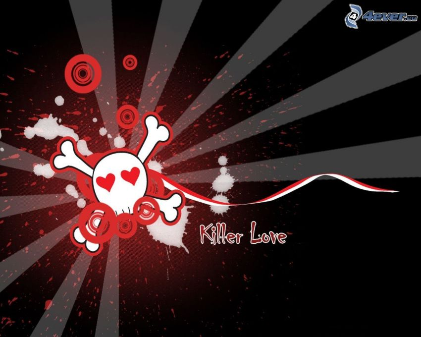 killer love, emo dödskalle, hjärtan