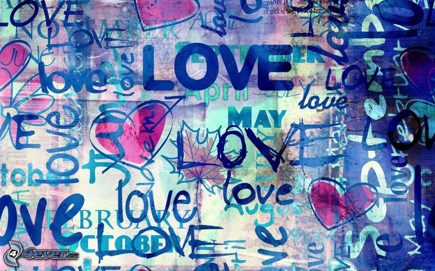 love, hjärtan, collage