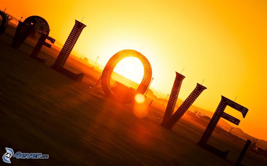 love, solnedgång, gul himmel