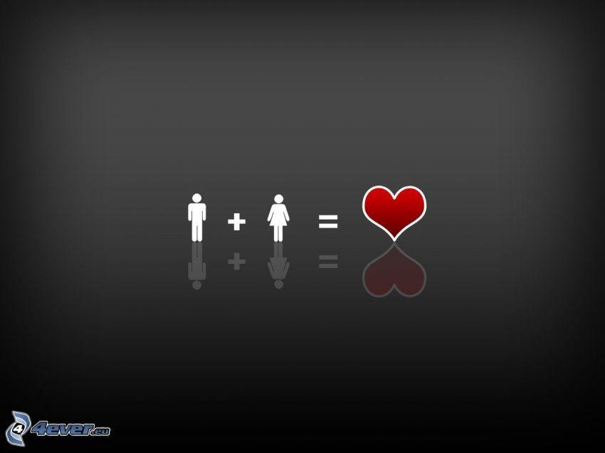 man, kvinna, hjärta, ekvation, grå bakgrund