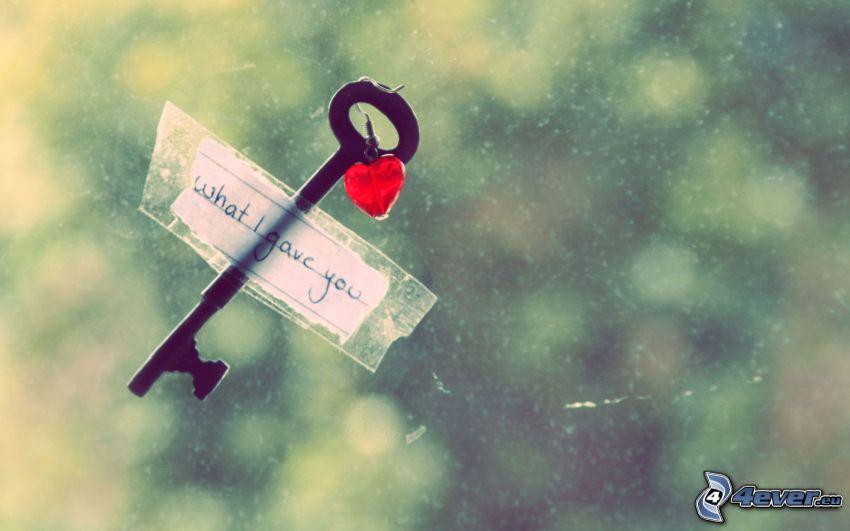 nyckel, text, hjärta