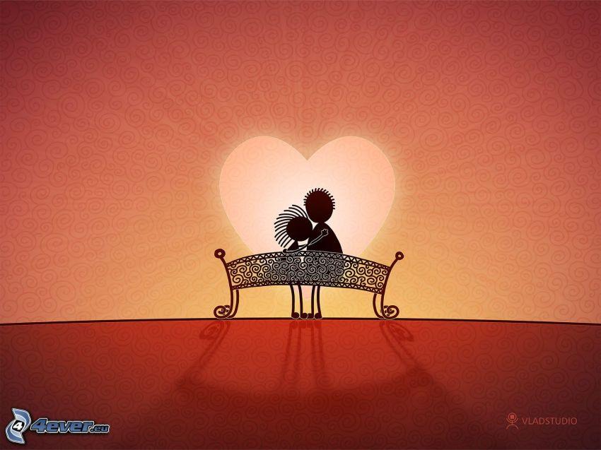 par på bänk, hjärta