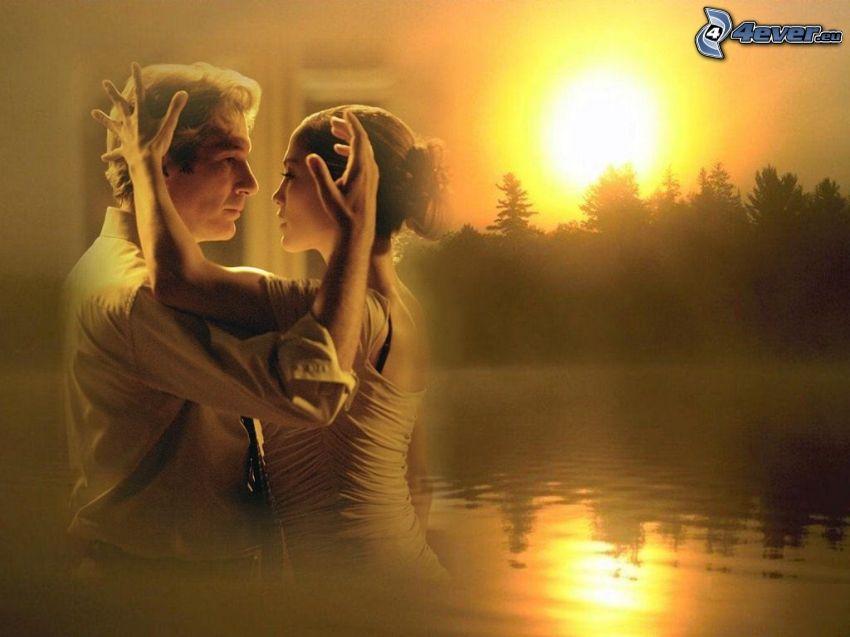 dans, par, romantik, solnedgång bakom skogen, sjö
