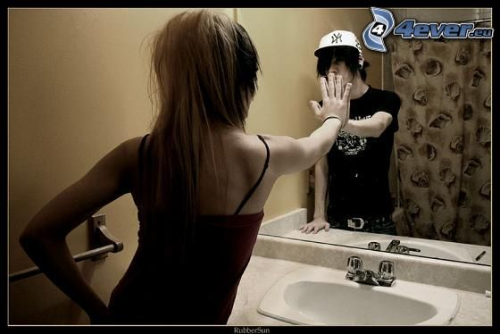 flicka och pojke, spegel, beröring, kärlek, emo, separation