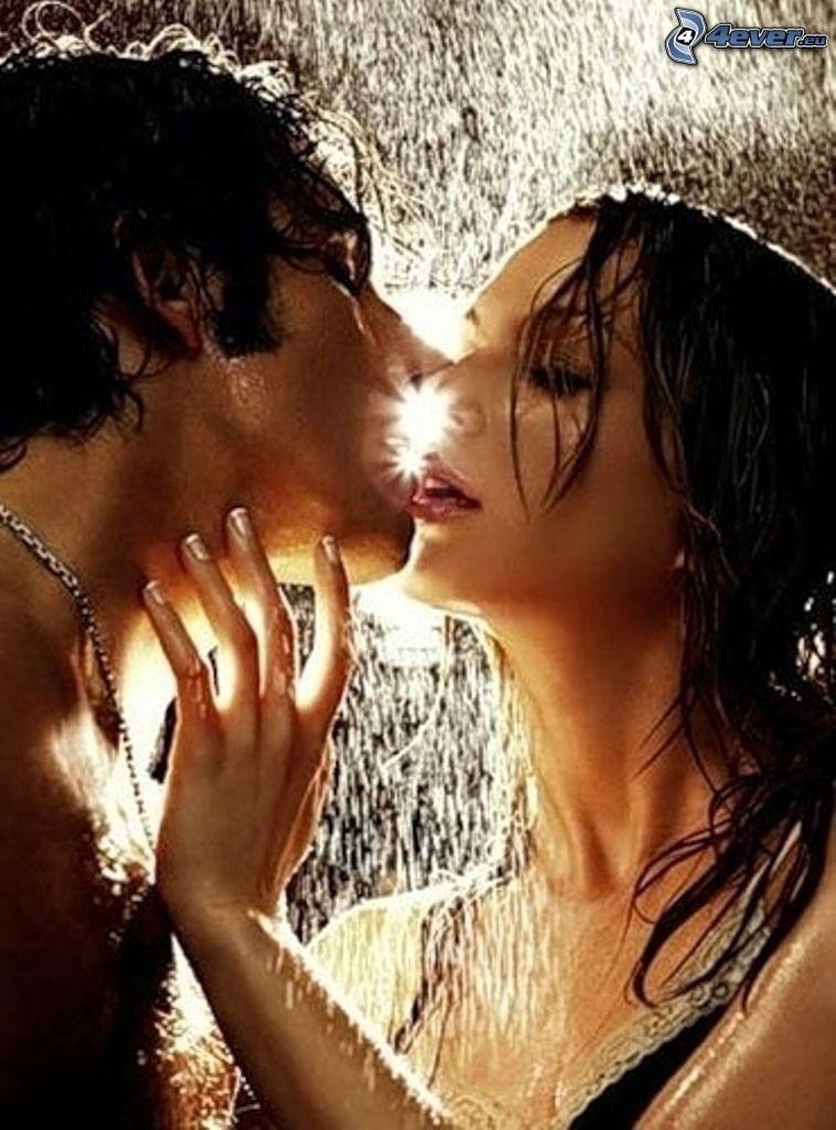 flyktig kyss, kärlek, dusch, sol